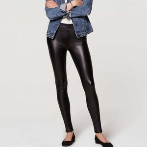 LOFT Black Bi-Stretch Faux Leather Leggings